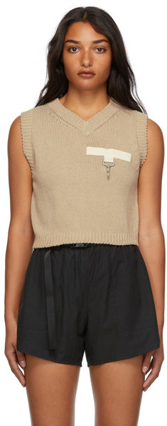 Reese Cooper Knit Sweater Vest in natural