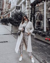 shoes,flats,loafers,white shoes,black and white,pants,leopard print,long coat,white sweater,turtleneck sweater,gucci bag