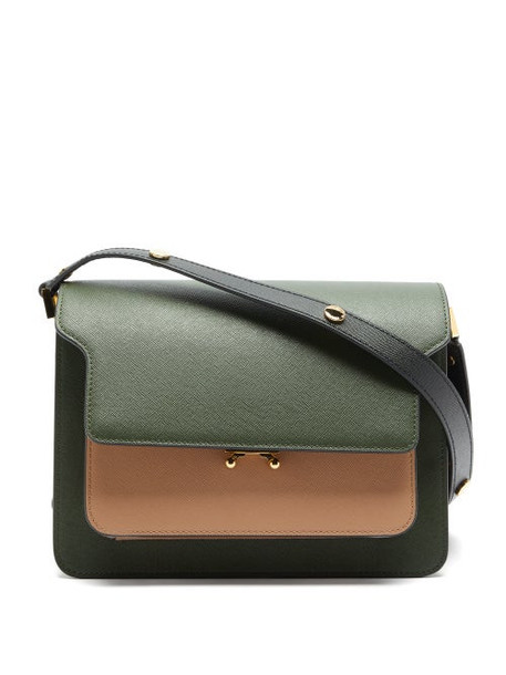 Marni - Trunk Medium Saffiano-leather Shoulder Bag - Womens - Khaki Multi