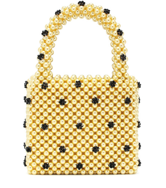 Shrimps Dolly Small beaded tote in yellow