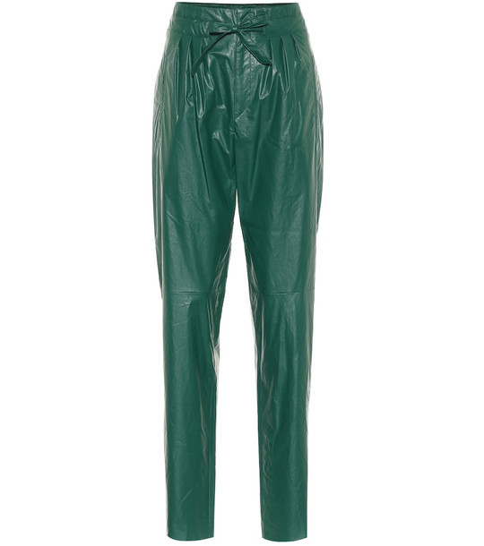 Isabel Marant Duard faux-leather slim pants in green