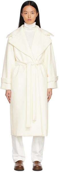 Hugo Off-White Belted Coat in natural
