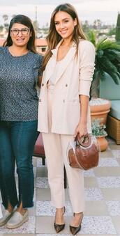 jacket,neutral,pastel,pink,pastel pink,jessica alba,celebrity,work outfits,pants,suit