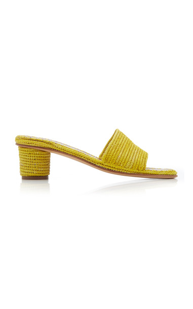 Carrie Forbes Bou Raffia Sandals in yellow