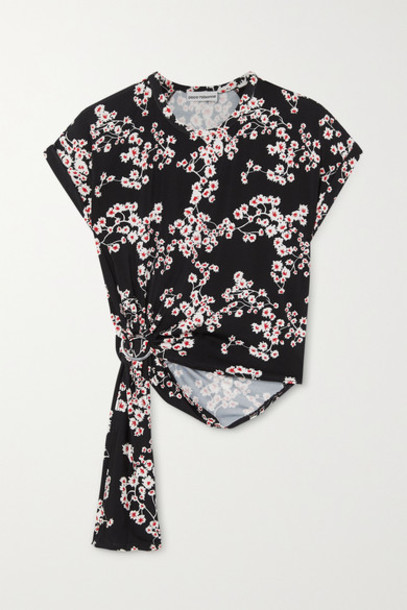 Paco Rabanne - Gathered Floral-print Stretch-jersey Top - Black