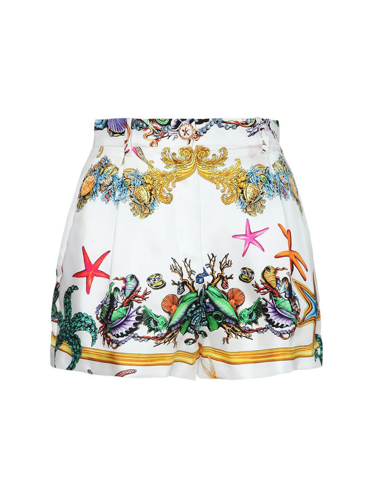 VERSACE Printed Silk Twill Mini Shorts
