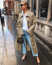 coat,trench coat,long coat,pumps,cropped jeans,straight jeans,bag,white shirt