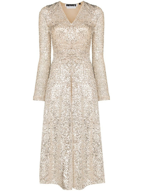 ROTATE sequin embroidered midi dress in neutrals