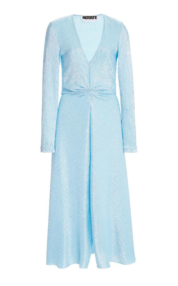 ROTATE Sierra Metallic Crepe Midi Dress in blue