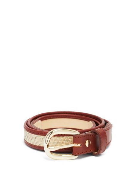 A.P.C. A.P.C. - Rosette Leather And Raffia Belt - Womens - Tan Multi