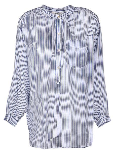 Isabel Marant Jada Pinstripe Shirt in blue / white