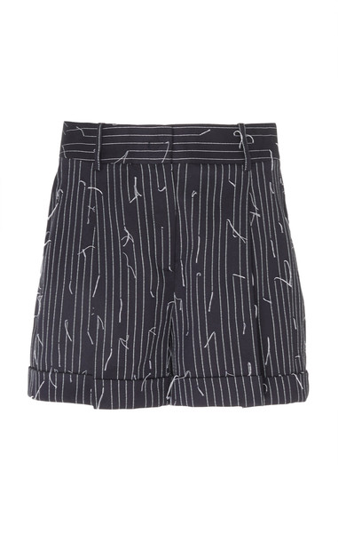 Michael Kors Collection Broken Pinstriped Cotton Shorts Size: 2 in blue