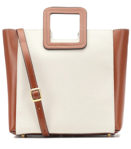 Staud Shirley canvas and leather tote in beige