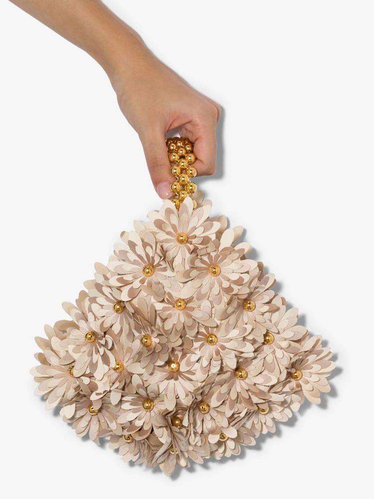 Vanina Beige inflorescence clutch bag in neutrals