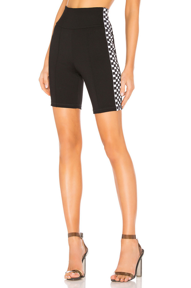 by the way. Sia Checker Side Stripe Short in black