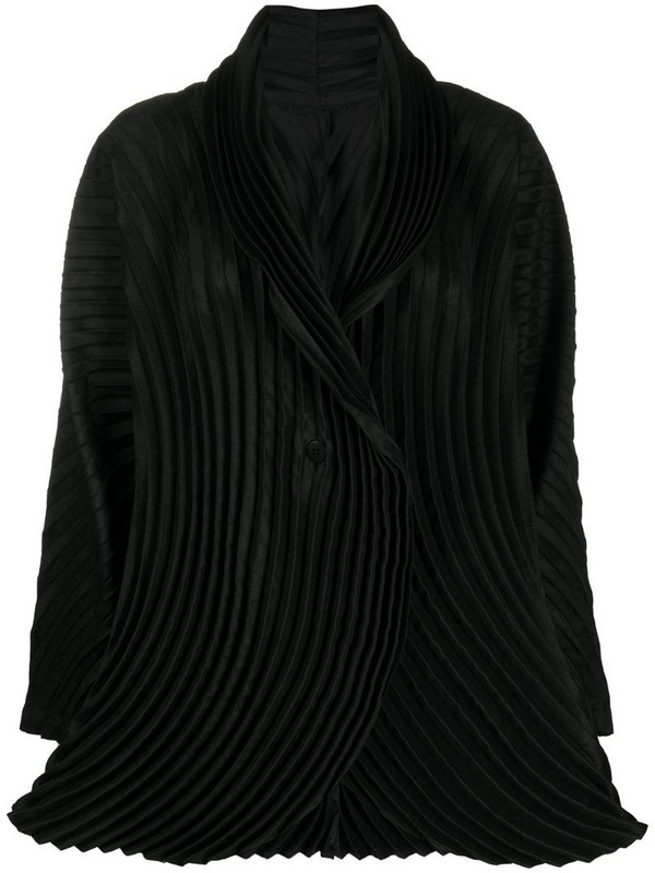 Issey Miyake pleated rounded blazer in black