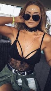 tank top,black bodysuit,music festival
