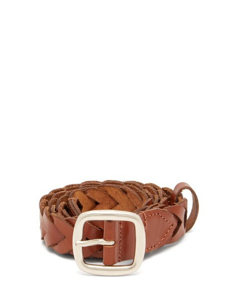 Etro - Braided Leather Belt - Womens - Tan