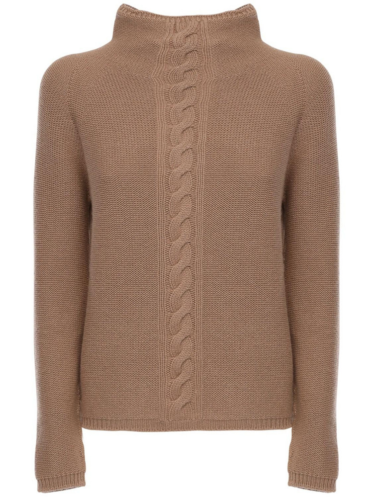 MAX MARA 'S Cashmere Knit Mock Neck Sweater in camel