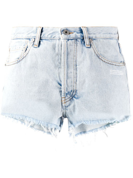 Off-White bleached-effect denim shorts in blue