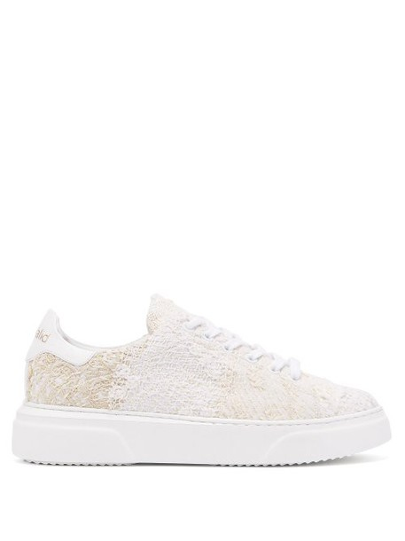 By Walid - 19th Century French Lace Low Top Trainers - Womens - Ivory