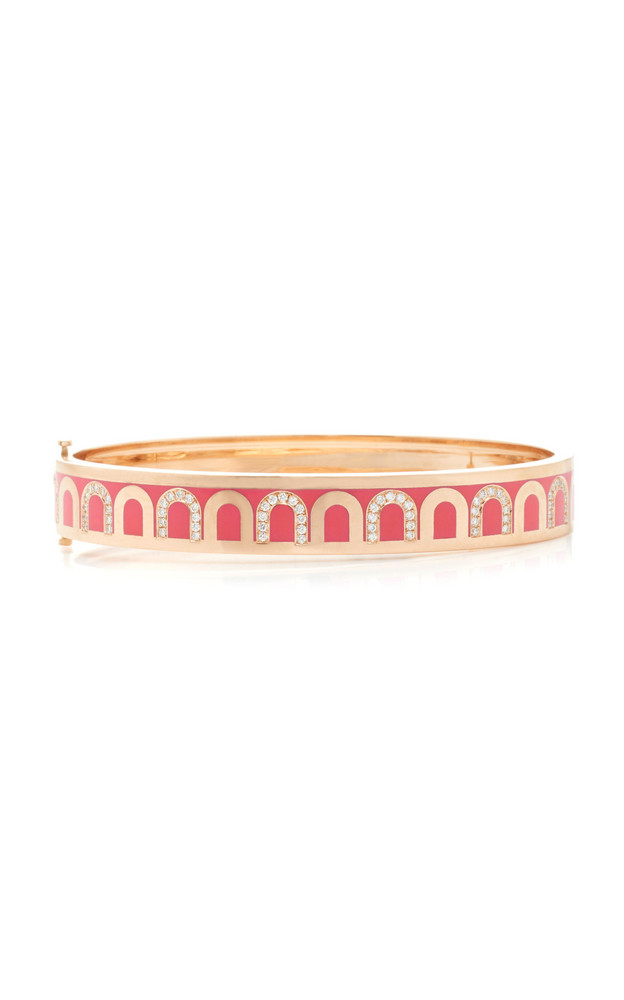 DAVIDOR L'Arc de DAVIDOR Bangle MM, 18k Rose Gold with Flamant Lacquer in pink