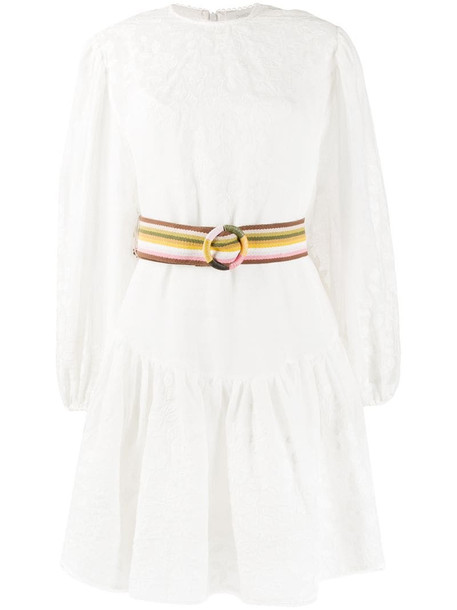 Zimmermann Zinnia applique mini dress in neutrals