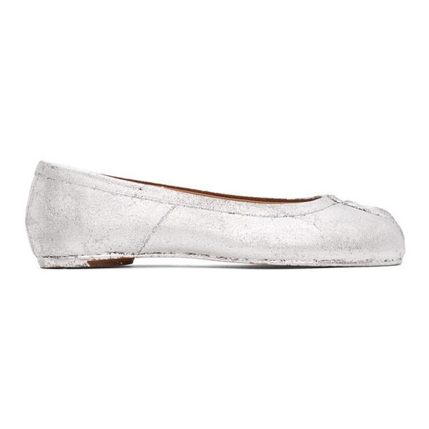Maison Margiela Silver Painted Tabi Ballerina Flats