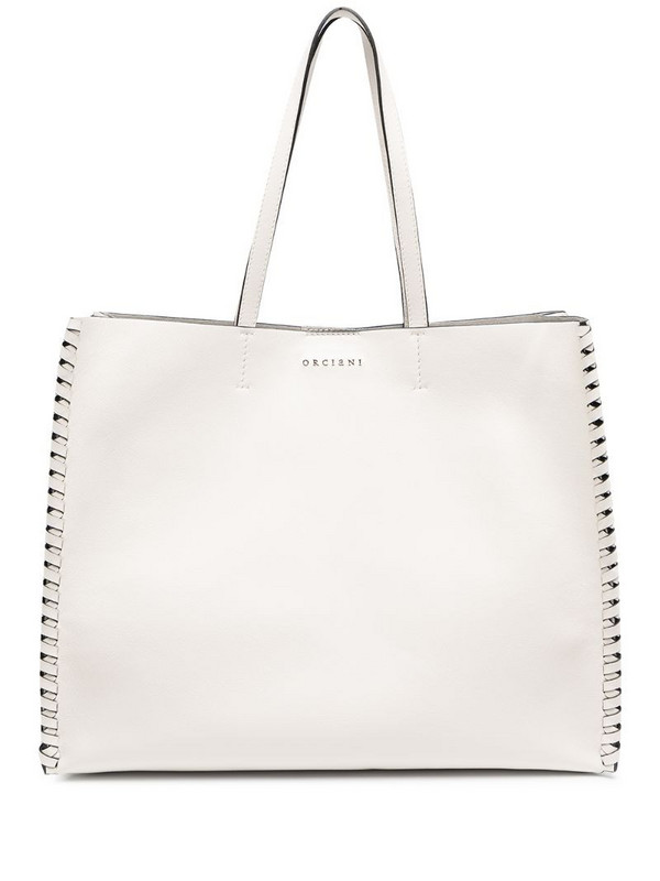 Orciani logo-plaque large tote bag in white