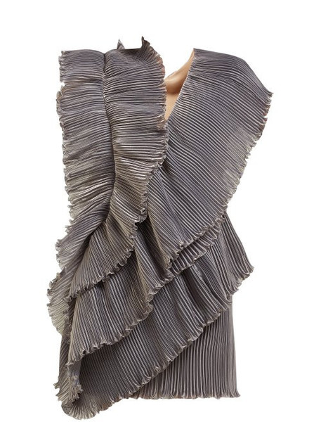Lanvin - Iridescent Pleated Mini Dress - Womens - Grey
