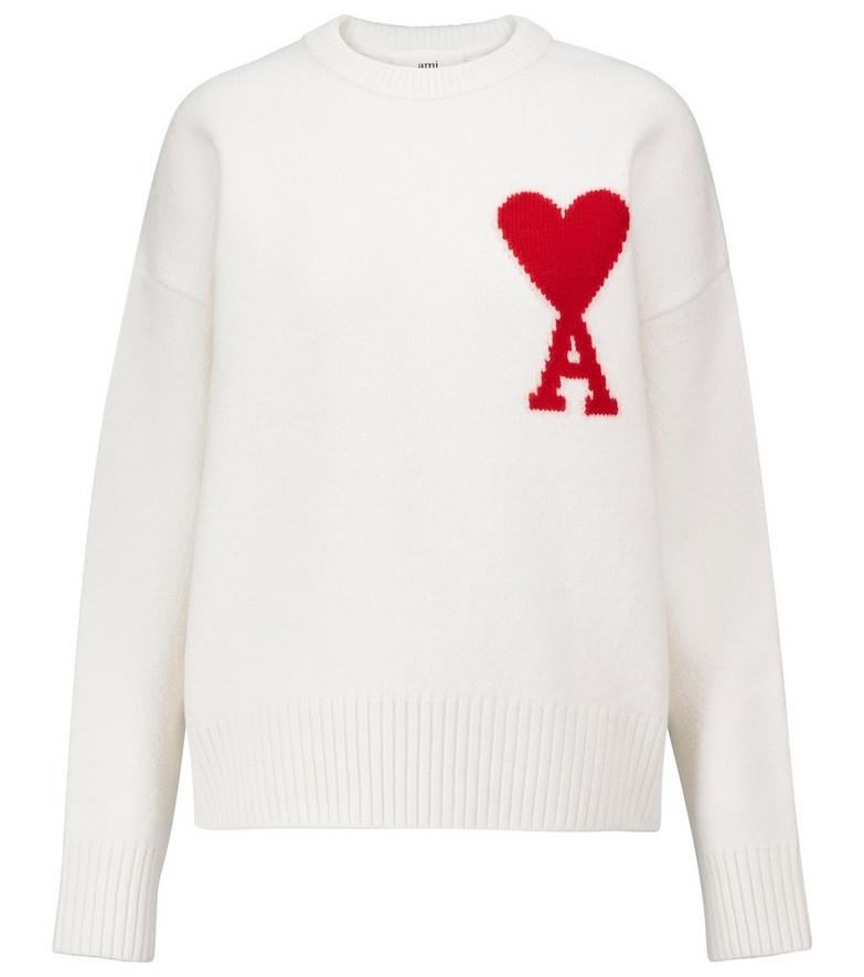 AMI PARIS Ami de Cœur wool sweater in white