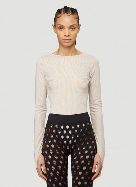 Maisie Wilen Graphic Print Bodysuit in Beige size L