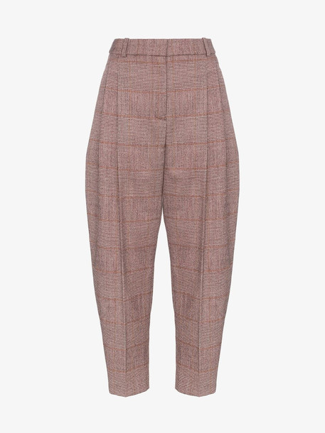 Stella McCartney Tapered Check Cropped Trousers in red