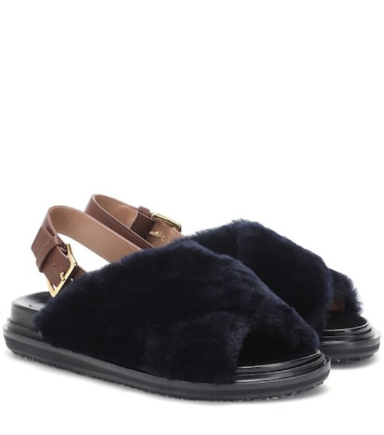 Marni Shearling-trimmed leather sandals in blue