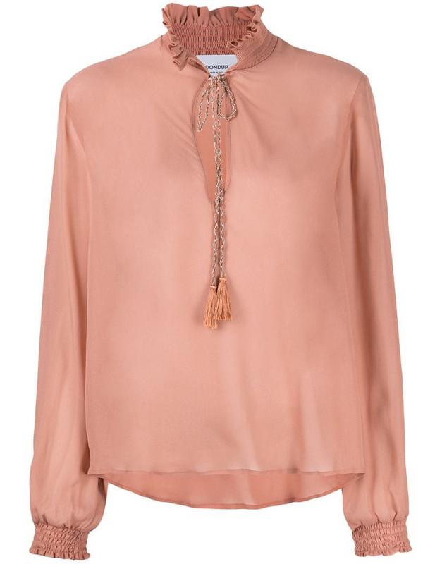 Dondup semi-sheer ruffle-collar blouse in neutrals