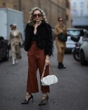 jacket,black jacket,feathers,max mara,pumps,wide-leg pants,white bag,black top