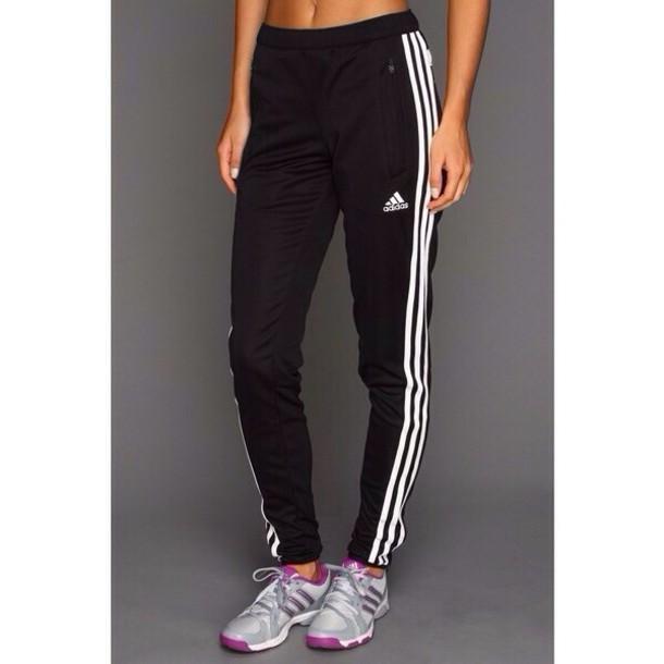 pants addidas pants black white sweatpants  adidas adidas three stripes black pants sports pants