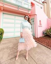 skirt,tulle skirt,midi skirt,pumps,white bag,handbag,white turtleneck top