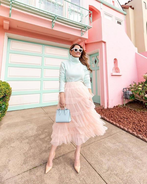 skirt tulle skirt midi skirt pumps white bag handbag white turtleneck top