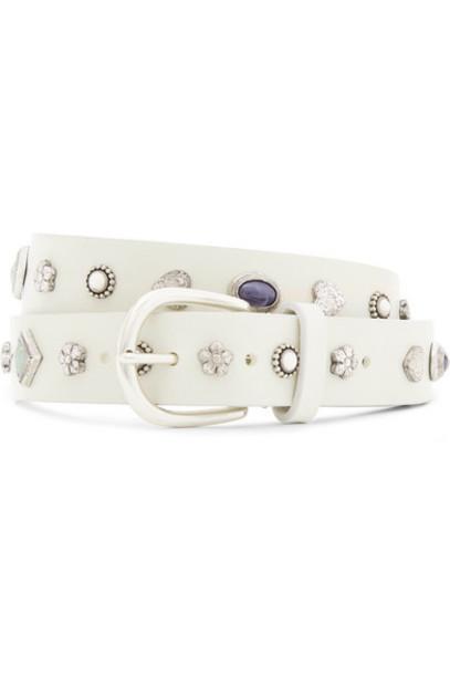 Isabel Marant - Embellished Leather Belt - White