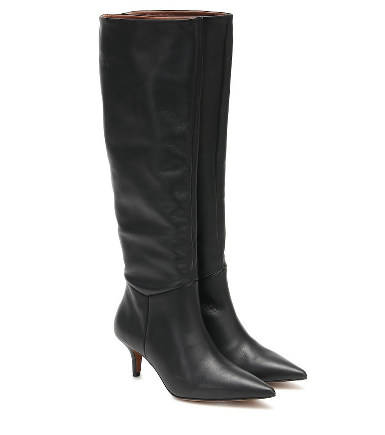 Souliers Martinez Elena leather knee-high boots in black