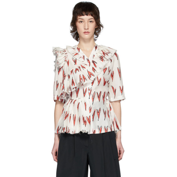 Charles Jeffrey Loverboy White and Red Silk Rofl Heart Print Blouse
