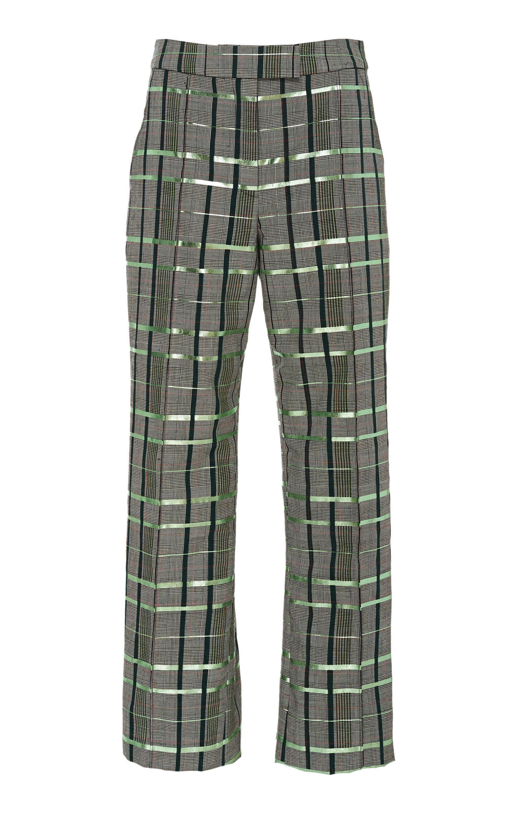 Rosie Assoulin Plaid Wool-Blend Straight-Leg Pant in green