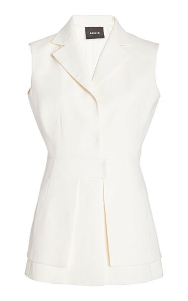 Akris Peplum Cotton-Silk Top in white
