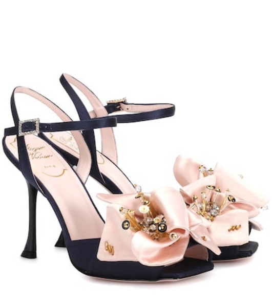 Roger Vivier Viv' Fireflower satin sandals in blue