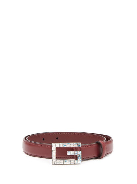 Gucci - Gg Crystal Embellished Leather Belt - Womens - Red