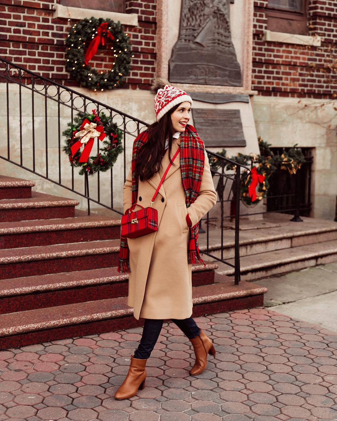 hat knitted beanie brown boots heel boots ankle boots skinny jeans long coat camel coat double breasted plaid scarf crossbody bag boxed bag