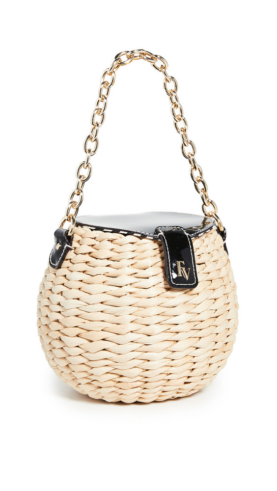 Frances Valentine Honeypot Mini Bucket Crossbody Bag in black / natural