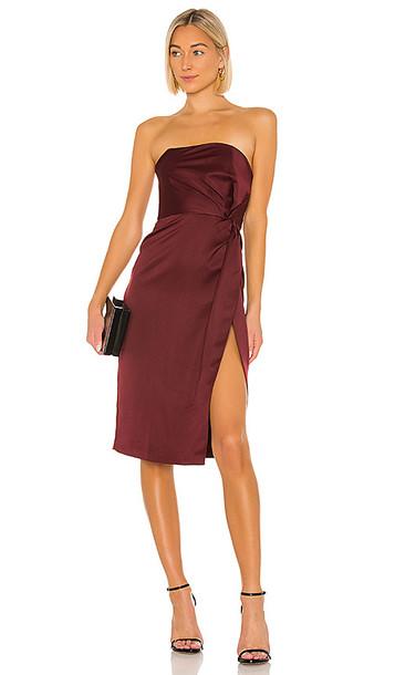 NBD Taliyah Midi Dress in Wine in plum