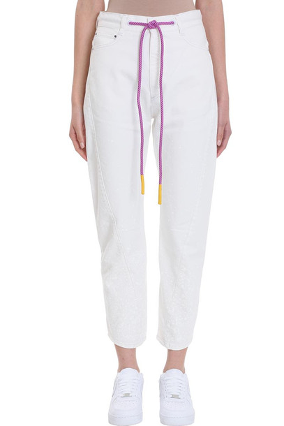 Palm Angels Painted Twisted White Denim Jeans